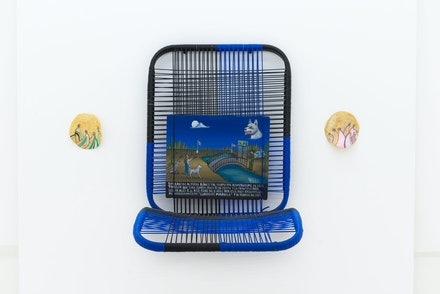 Guadalupe Maravilla, <em>Milagros #1</em>, 2019. Oil on tin, car seat, water jugs, dimensions variable. Courtesy Jack Barrett Gallery, New York.