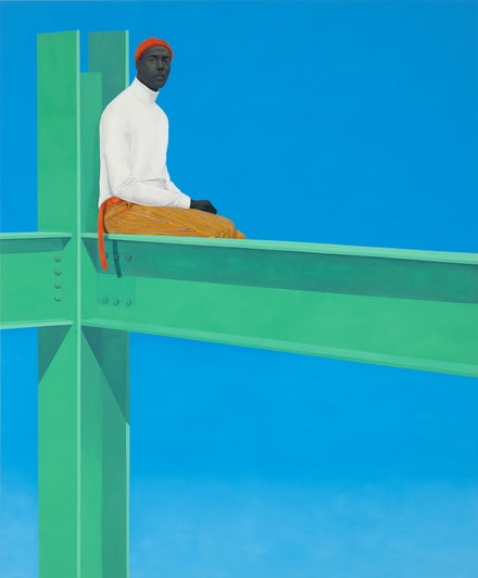 Amy Sherald, <i>If you surrendered to the air, you could ride it</i>, 2019. Oil on canvas, 130 x 108 x 2 1/2 inches. © Amy Sherald. Courtesy the artist and Hauser & Wirth. Photo: Joseph Hyde.