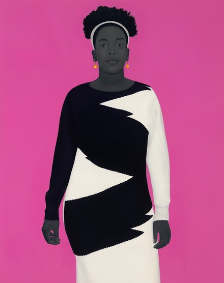 Amy Sherald, <i>Sometimes the king is a woman</i>, 2019. Oil on canvas, 54 x 43 x 2 1/2 inches. © Amy Sherald. Courtesy the artist and Hauser & Wirth. Photo: Joseph Hyde.