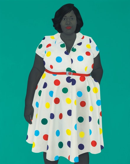 Amy Sherald, <i>The girl next door</i>, 2019. Oil on canvas, 54 x 43 x 2 1/2 inches. © Amy Sherald. Courtesy the artist and Hauser & Wirth. Photo: Joseph Hyde.
