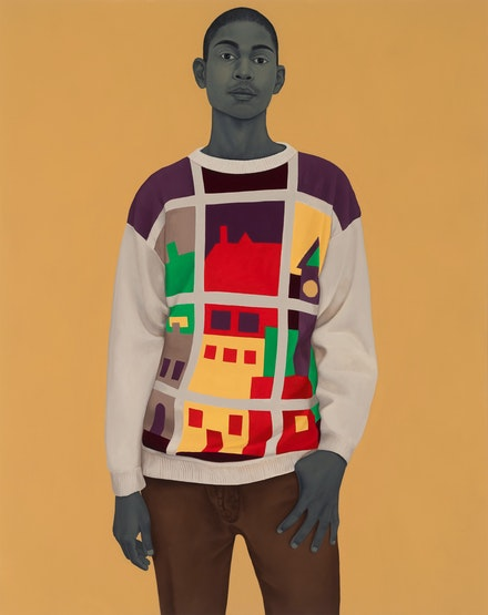 Amy Sherald, <i>A single man in possession of a good fortune</i>, 2019. Oil on canvas, 54 x 43 x 2 1/2 inches. © Amy Sherald. Courtesy the artist and Hauser & Wirth. Photo: Joseph Hyde.