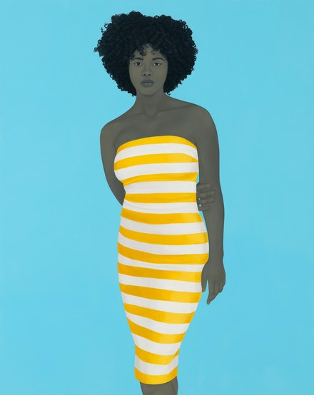 Amy Sherald, <i>There is no charm equal to tenderness of heart</i>, 2019. Oil on canvas, 54 x 43 x 2 1/2 inches. © Amy Sherald. Courtesy the artist and Hauser & Wirth. Photo: Joseph Hyde.