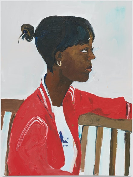 Henry Taylor, <em>A sit down Niema</em>, 2017. Acrylic on canvas, 40 x 30 x 1 5/8 inches. © Henry Taylor, Courtesy of the artist and Blum & Poe, Los Angeles/New York/Tokyo.