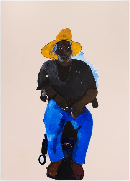 Henry Taylor, <em>Emory: shoulda been a phd but society made him homeless</em>, 2017. Acrylic on canvas, 84 x 60 x 3 inches. © Henry Taylor, Courtesy of the artist and Blum & Poe, Los Angeles/New York/Tokyo.
