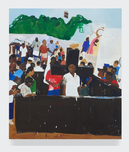 Henry Taylor, <em>Haitian Cemetery</em>, 2014. Acrylic on canvas, 124 x 106 inches. © Henry Taylor, Courtesy of the artist and Blum & Poe, Los Angeles/New York/Tokyo.