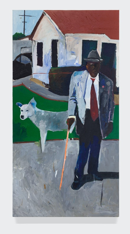 Henry Taylor, <em>L. W. Robinson</em>, 2014. Acrylic on canvas, 96 x 48 3/4 inches. © Henry Taylor, Courtesy of the artist and Blum & Poe, Los Angeles/New York/Tokyo.