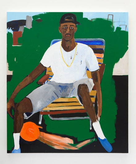 Henry Taylor, <em>Anthony Swan</em>, 2016. Acrylic on canvas, 84 x 72 x 3 inches. © Henry Taylor, Courtesy of the artist and Blum & Poe, Los Angeles/New York/Tokyo.