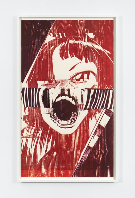 Christian Marclay, <em>Scream (Shaking Red)</em>, 2019. Color woodcut on Saunders Waterford 190 gsm hot press paper, 90 x 47 7/8 inches. © Christian Marclay. Courtesy Paula Cooper Gallery, New York. Photo: Steven Probert.