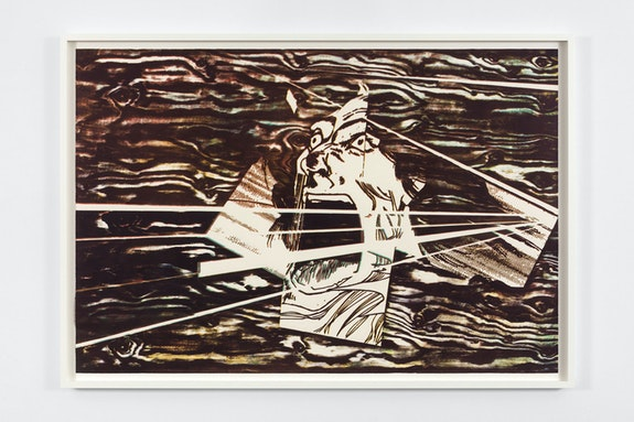 Christian Marclay, <em>Scream (Big Mouth Sliced)</em>, 2019. Color woodcut on Saunders Waterford 190 gsm hot press paper, 71 3/8 x 48 inches. © Christian Marclay. Courtesy Paula Cooper Gallery, New York. Photo: Steven Probert.