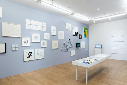 Installation view: <em>Manfred Mohr: A Formal Language</em>, bitforms gallery, New York, 2019. Courtesy bitforms gallery, New York. Photo: Emile Askey.