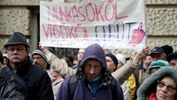 Protest against Overtime Act in Budapest, December 8, 2018. Translation of sign