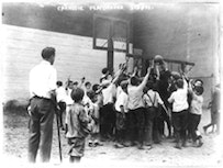 <i>Group of boys playing basketball at Carnegie Playground, 5th Ave., New York City, August 1911. Photo Courtesy George Grantham Bain Collection, Library of Congress.</i>