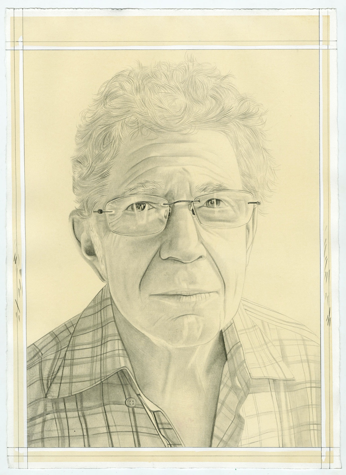 Portrait of Richard Shiff, pencil on paper by Phong Bui.
