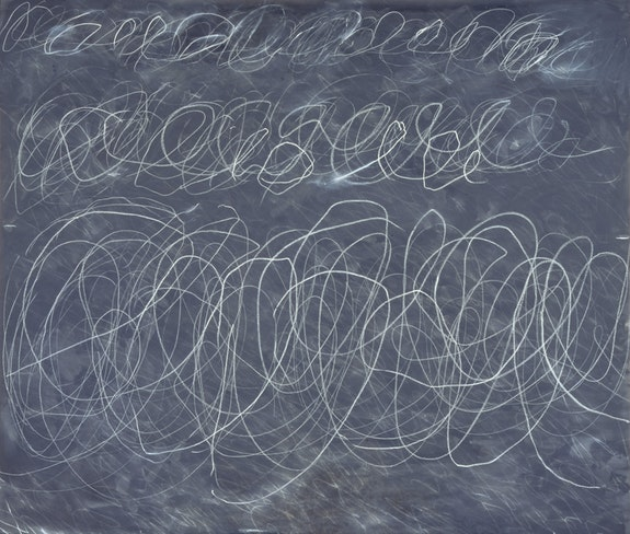 Cy Twombly, <em>Untitled</em>, 1970. House paint and crayon on canvas, 136 1/4 x 159 1/2 inches. The Menil Collection, Houston. Gift of the artist. © Menil Foundation, Inc. Photo: J. Littkemann.