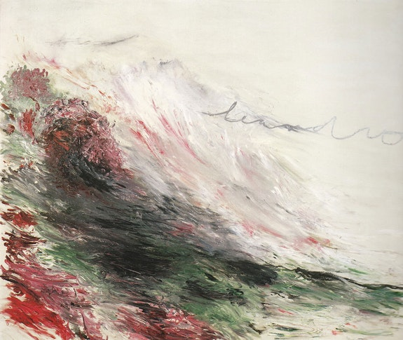 Cy Twombly, <em>Hero and Leandro, Part I</em>, 1981–1984. Oil, crayon, and graphite on canvas. © Cy Twombly Foundation.