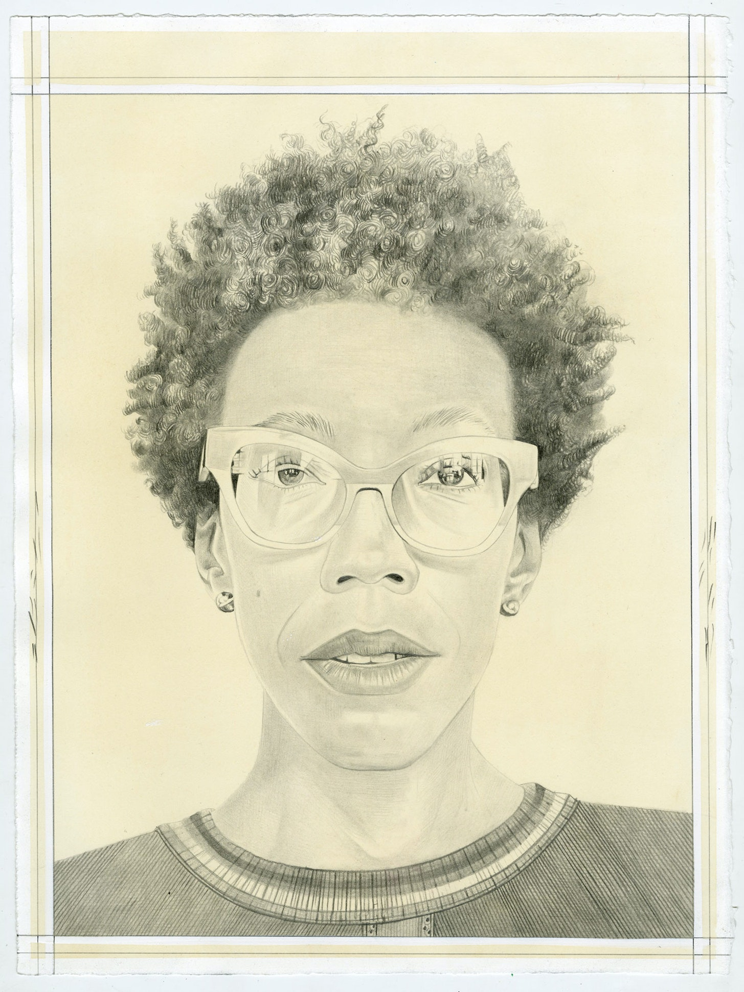 Portrait of Amy Sherald, pencil on paper by Phong Bui. Based on a photograph by Jordan Geiger.