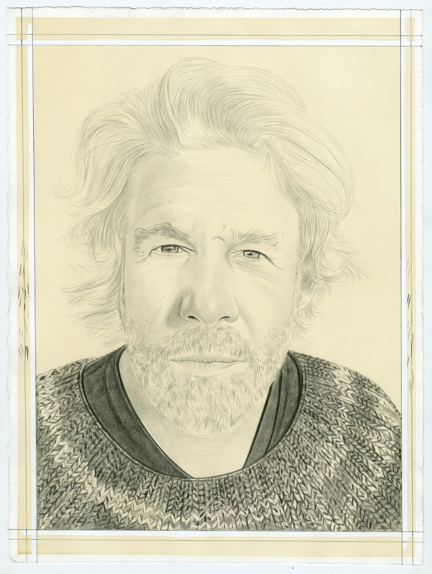 Portrait of John Zurier, pencil on paper by Phong Bui.
