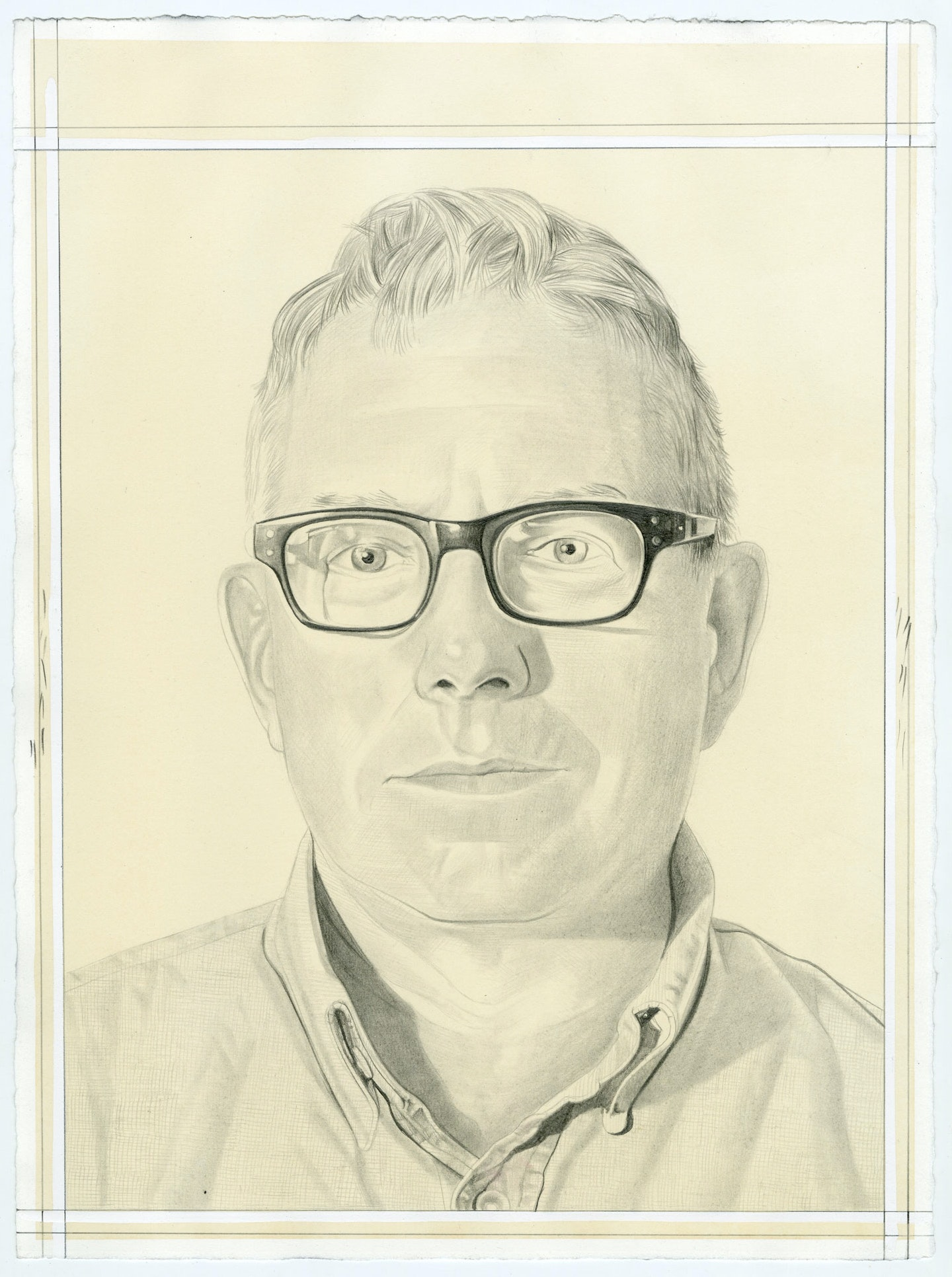 Portrait of Mark Dion, pencil on paper by Phong Bui.