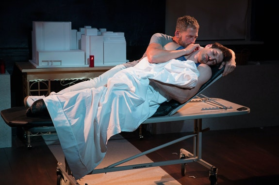 Left to right: Ken Barnett and Justin Genna in <em>Novenas for a Lost Hospital </em>at Rattlestick Playwrights Theater. Photo: Julieta Cervantes.