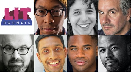The 2018-19 Lit Council Inaugural Cohort. Clockwise from top left: Marcus Scott, Benjamin Colón, Mel Nieves, Akin Salawu, Ja'Michael Darnell, Nikhil Mahapatra, Beto O'Byrne. Photo: Larry Cooney Jr.
