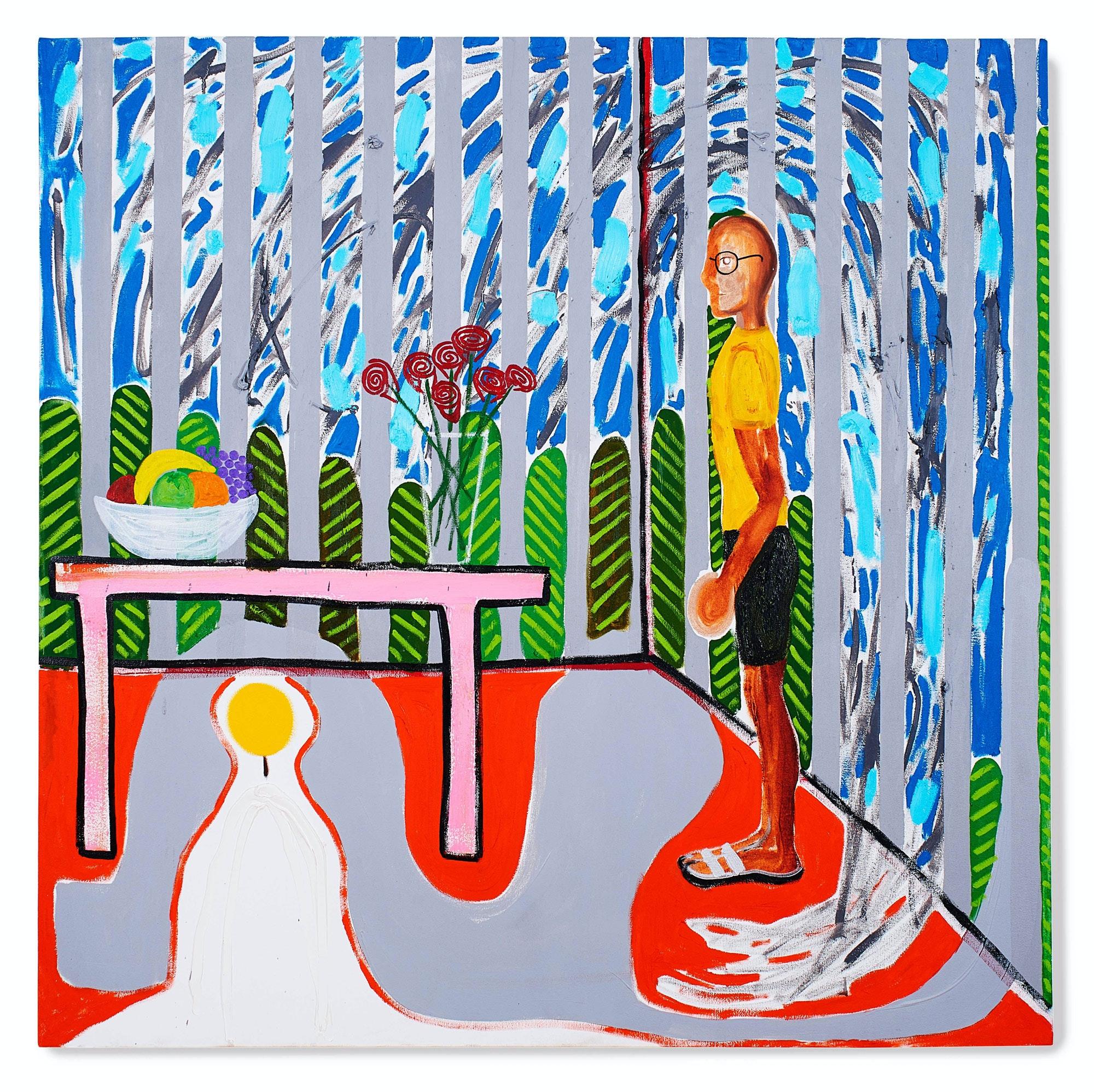 Sinéad Breslin, <em>Arfus</em>, 2017. Oil on canvas, 47 x 47 inches. Courtesy Marc Straus.