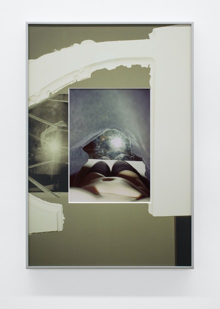 B. Ingrid Olson, <em>Given: illuminated from reverse, their roof, behind curtain</em>, 2019. Inkjet print and UV printed matboard in aluminum frame. 30 x 20 1/4 inches. © B. Ingrid Olson. Courtesy the artist and Simone Subal Gallery.