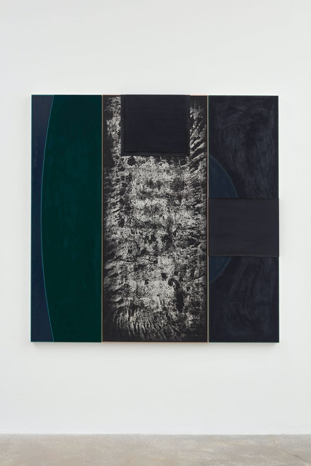 N. Dash, <em>Untitled</em>, 2019. Adobe, oil, acrylic, silkscreen ink, pigment, backstrap loomed fabric, canvas, jute, 63 x 63 1/2 inches. Courtesy the artist and Casey Kaplan, New York. Photo: Jason Wyche.