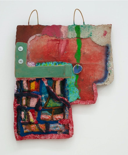 Sahar Khoury, <em>Untitled (wall relief with blue glaze and green line)</em>, 2019. Paper and textile mâché, glazed ceramic, steel, spray enamel, oil stick, 26 1/2 x 21 x 5 1/2 inches. Courtesy the artist and Canada. Photo: Joe DeNardo.