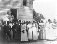 African Americans posed outside of church, 1899 or 1900, from Negro life in Georgia, U.S.A., compiled and prepared by W.E.B. Du Bois. Photo courtesy Daniel Murray Collection (Library of Congress).