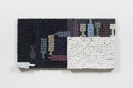 Joe Zucker, <em>To Be Titled</em>, 2019. Acrylic and cotton on burlap, 33 1/2 x 66 x 5 inches. Courtesy the artist and Marlborough, New York and London. Photo: Pierre Le Hors.
