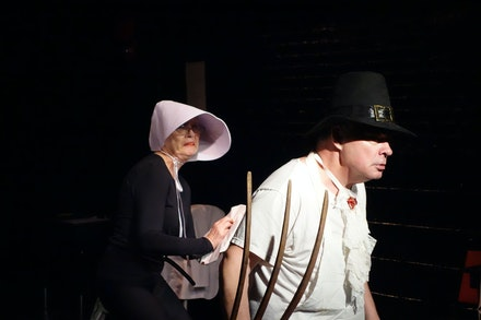 Left to right: Sarah Germain Lilly and T. Scott Lilly in Walter Corwin's <em>Con Hand Cabaret</em>. Courtesy Theater for the New City.