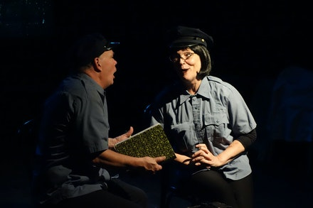 Left to right: T. Scott Lilly and Sarah Germain Lilly in Walter Corwin's <em>Con Hand Cabaret</em>.  Courtesy Theater for the New City.