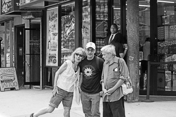 Yuko Otomo, Alan Nahigian, and Steve Dalachinsky on the Bowery. Photo © Helen Chang.