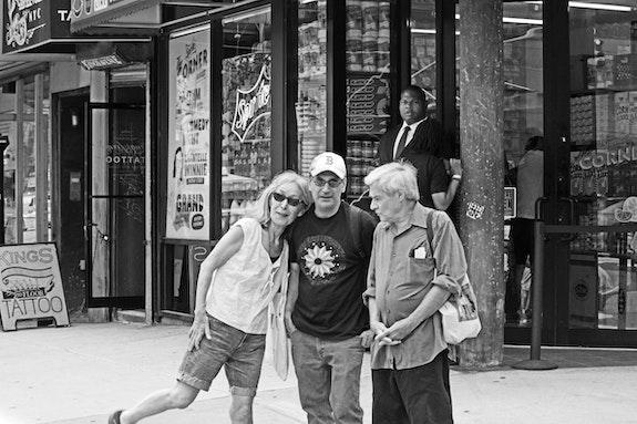 Yuko Otomo, Alan Nahigian, and Steve Dalachinsky on the Bowery. Photo © Helen Chang.