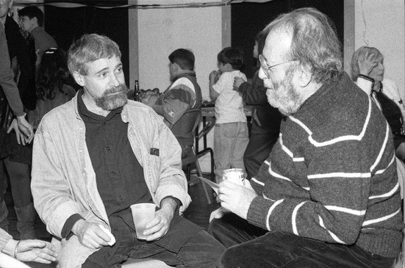 Steve Dalachinsky and Irving Stone, March 9, 1996. Photo © Alan Nahigian.