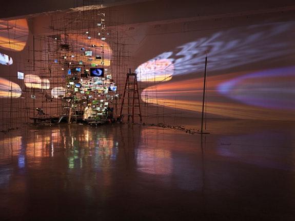 Installation view: <em>Sarah Sze</em>, Tanya Bonakdar Gallery, New York, 2019. Courtesy the artist and Tanya Bonakdar Gallery, New York / Los Angeles. Photo: Genevieve Hanson.