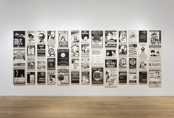Installation view: <em>Fernando Bryce: The Decade Review</em>, Alexander and Bonin, New York, 2019. Courtesy Alexander and Bonin, New York.