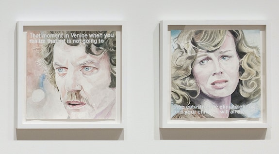 William Powhida, <em>Venice (Don't Look Now)</em>, 2019. Watercolor and acrylic on paper, diptych: 15 x 15 inches each, metadata: posted May 5th, 2019. 256 likes. Courtesy the artist and Postmasters Gallery.