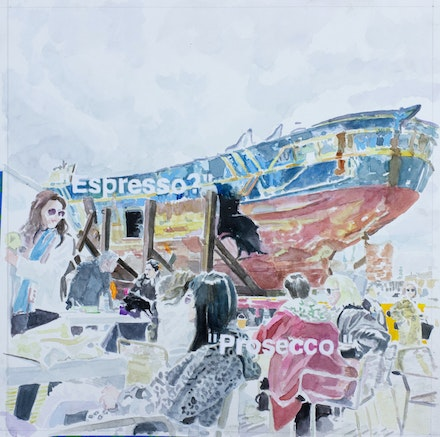 William Powhida, <em>Barca Nostra (Venice Biennale)</em>, 2019. Watercolor and acrylic on paper, 15 x 15 inches, metadata: posted May 12th, 2019. 129 likes. Courtesy the artist and Postmasters Gallery.