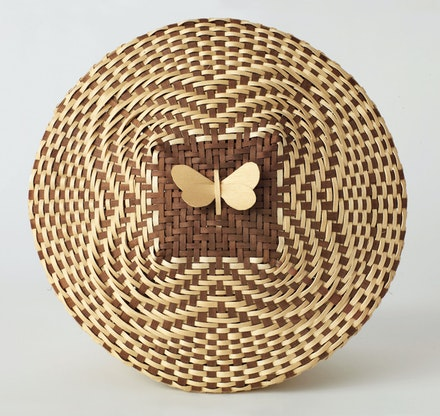 Fred Tomah, <em>Katahdin Arctic Butterfly #8</em>, 2003. Brown ash, dye. 7 1/2 x 10 1/2 x 10 1/2 inches. Hudson Museum, University of Maine.