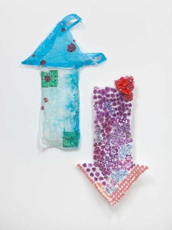 Allyson Vieira, <em>Get Shot, Got Shot, Give Shot,</em> 2018. Styrofoam, plastic bags, resin. 63 ½ x 47 ½ x 7 ¼ in. Courtesy the artist.