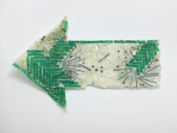 Allyson Vieira, <em>Domestic Waste</em>, 2018. Styrofoam, plastic bags, resin. 41 ½ x 66 ¼ x 5 ¾ in. Courtesy the artist.