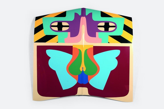 Judy Chicago, <em>Flight Hood</em>, 1965/2011. Sprayed automotive lacquer on car hood, 43 x 43 x 4 inches. Courtesy the artist and Jeffrey Deitch, Los Angeles.