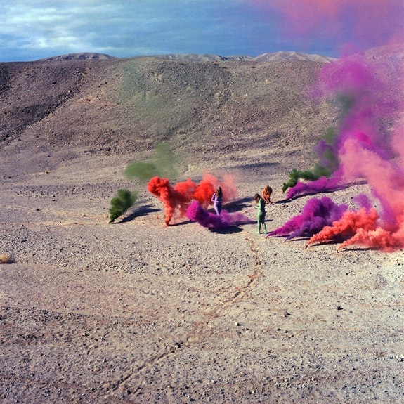 "Judy Chicago, <em>Smoke Bodies</em>, from ""Women and Smoke,"" 1972, printed 2019. ChromaLuxe metal print on aluminum, 48 x 48 inches. © Judy Chicago/Artists Rights Society, New York. Photo courtesy Through the Flower Archives."