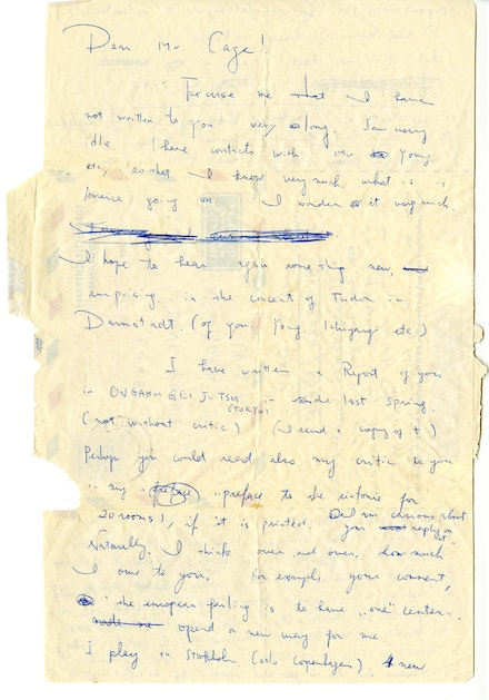 Letter from Paik to John Cage, 1961. John Cage Notations Project Correspondence, Northwestern University Music Library, Northwestern University Libraries.
