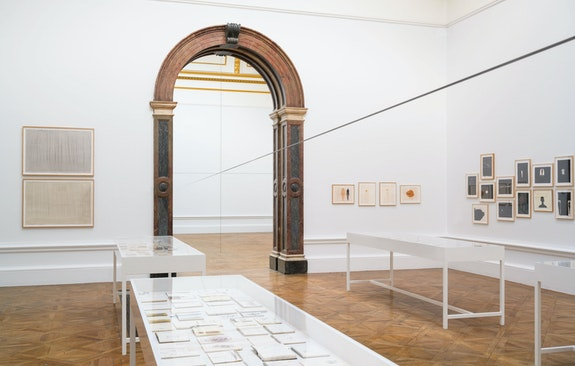 Antony Gormley, <em>Co-ordinate VI</em>, 2019. 5 mm square section mild steel bar, two horizontal and one vertical line, dimensions variable. Installation view, Royal Academy of Arts, London, 2019. © Antony Gormley. Photo: © Oak Taylor-Smith.