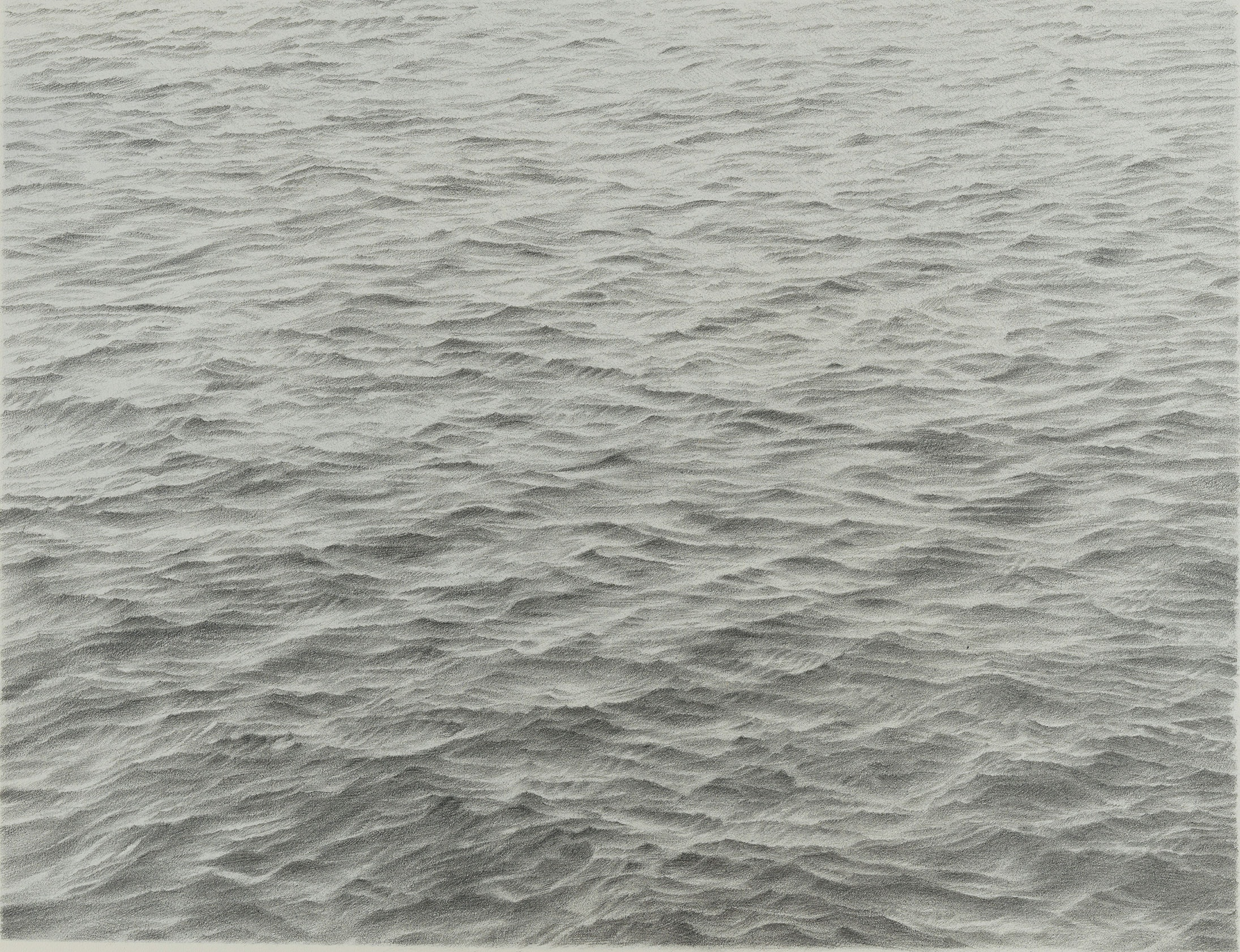 Vija Celmins, <em>Untitled (Ocean)</em>, 1973. Graphite on paper, 11 1/2 x 14 3/4 inches. © Vija Celmins. Courtesy the artist and Matthew Marks Gallery.