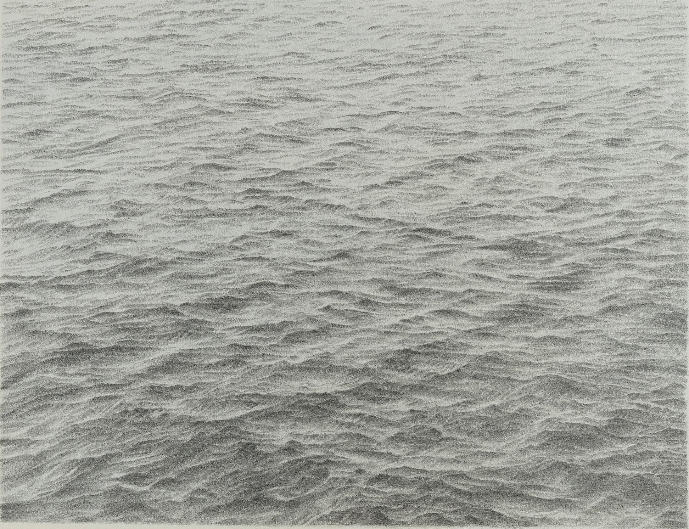 Vija Celmins, <em>Untitled (Ocean)</em>, 1973. Graphite on paper, 11 1/2 x 14 3/4 inches. © Vija Celmins. Courtesy the artist and Matthew Marks Gallery.