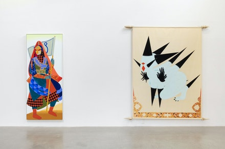 Rajni Perera, Left: <em>Traveller 6</em>, 2019. Mixed media on paper, 96 x 40 inches. Right: <em>BANNER2</em>, 2018. Canvas, wood, steel, acrylic and acryl-gouache paint, 120 x 120 inches. Courtesy Patel Division Projects.