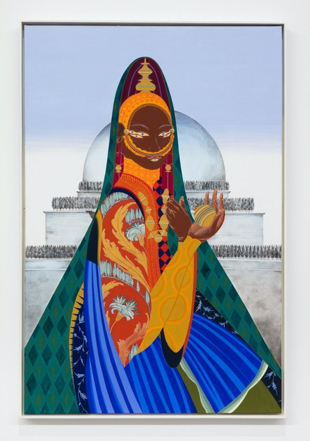 Rajni Perera,<em> Traveller 5</em>, 2019. Mixed media on paper, 39 1/2 x 59 1/2 inches. Commissioned by RBC Corporate Art Collection. Courtesy Patel Division Projects.